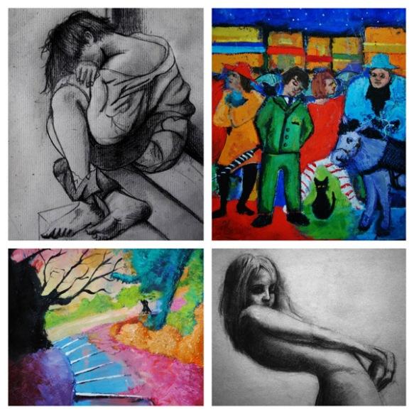 Sean fleming artwork sample drawing painting sketch landscape city woman man alone