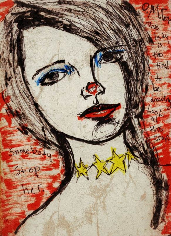 Heather Carr drawing sketch woman girl star tattoo