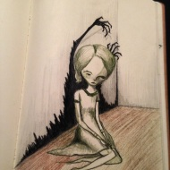 Broken Thoughts pencil sketch sketchbook creepy scary woman shadows