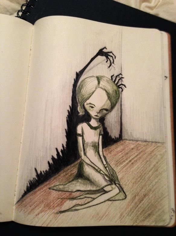 Broken Thoughts pencil sketch sketchbook creepy scary woman shadows