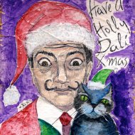 heather carr Christmas drawing illustration Salvador Dali xmas santa hat