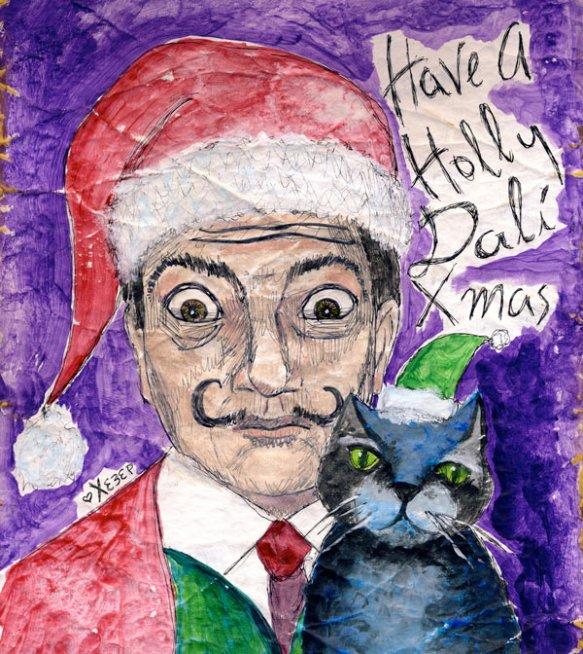 heather carr Christmas drawing illustration Salvador Dali xmas santa hat