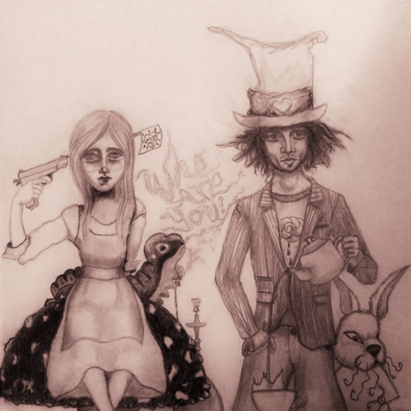 alice in wonderland, sketch, heather carr
